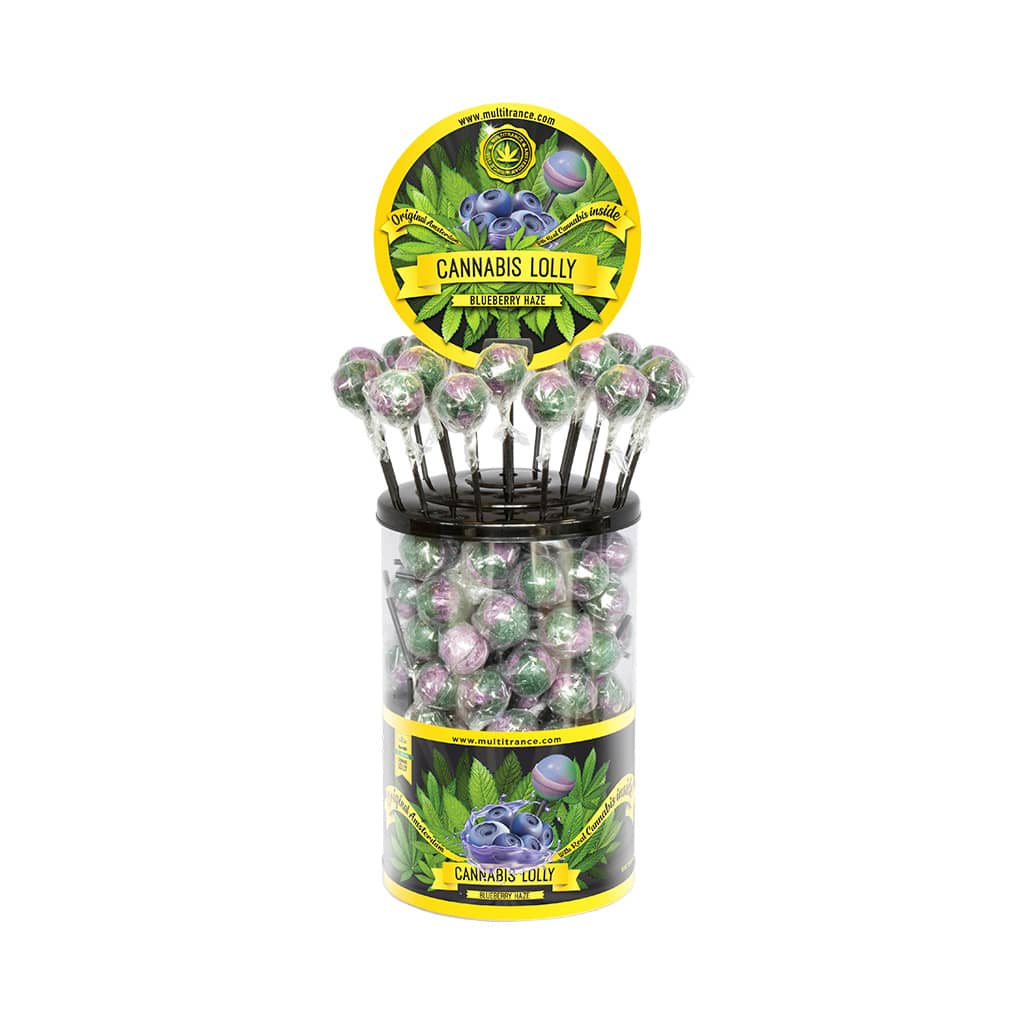 Cannabis Blueberry Haze Lollies – Display Container (100 Lollies)