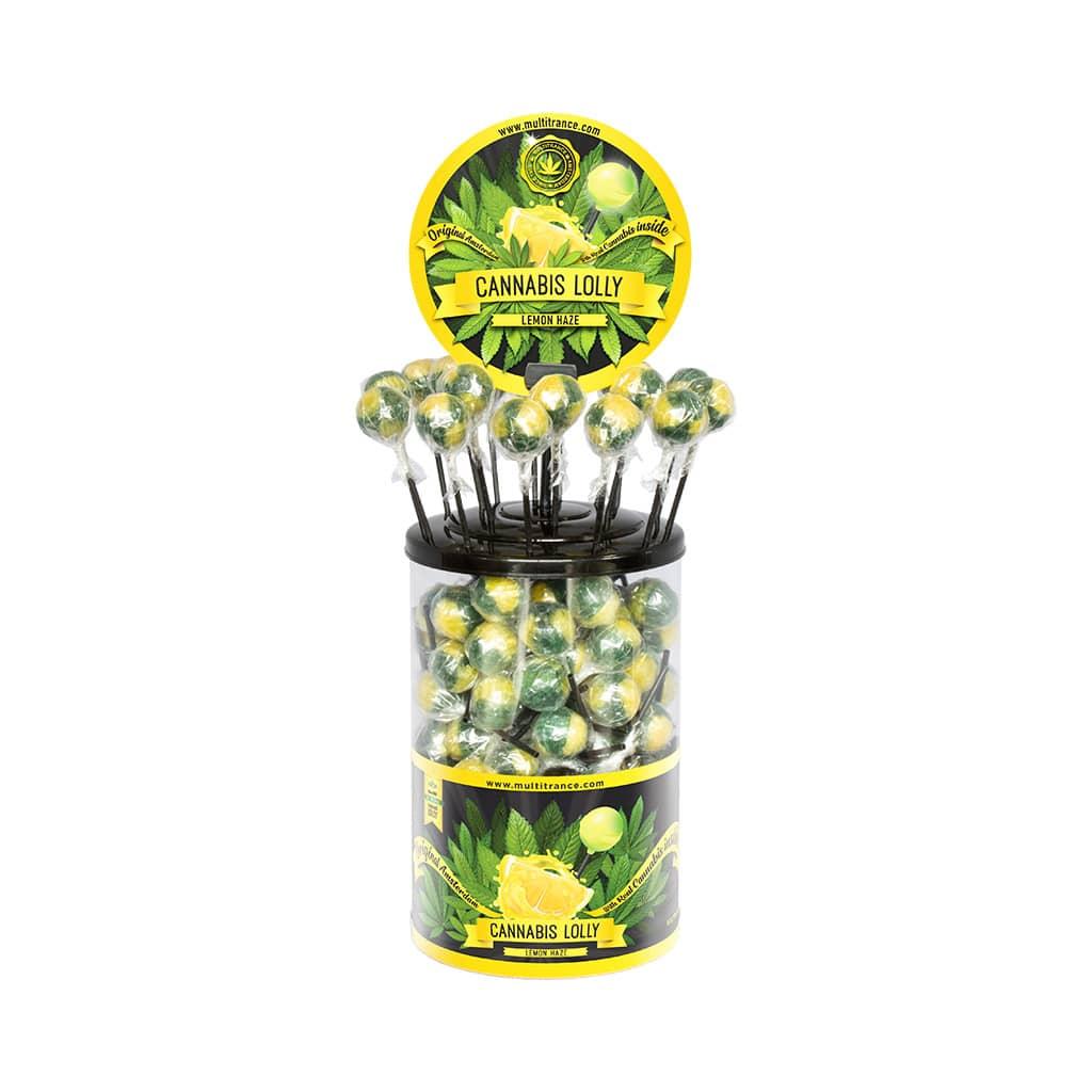 Cannabis Lemon Haze Lollies – Display Container (100 Lollies)
