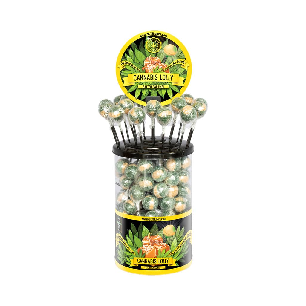 Cannabis Salted Caramel Lollies – Display Container (100 Lollies)