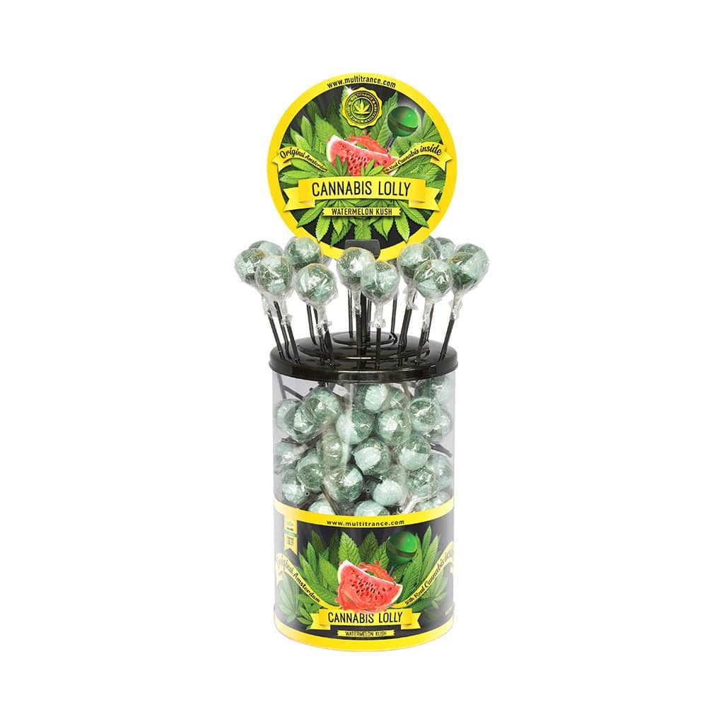 Cannabis Watermelon Kush Lollies – Display Container (100 Lollies)