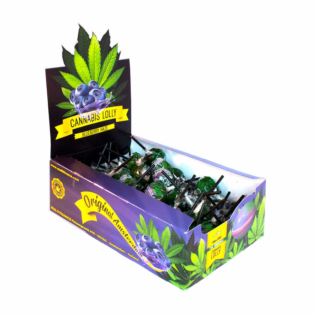 Cannabis Blueberry Haze Lollies – Display Carton (70 Lollies)