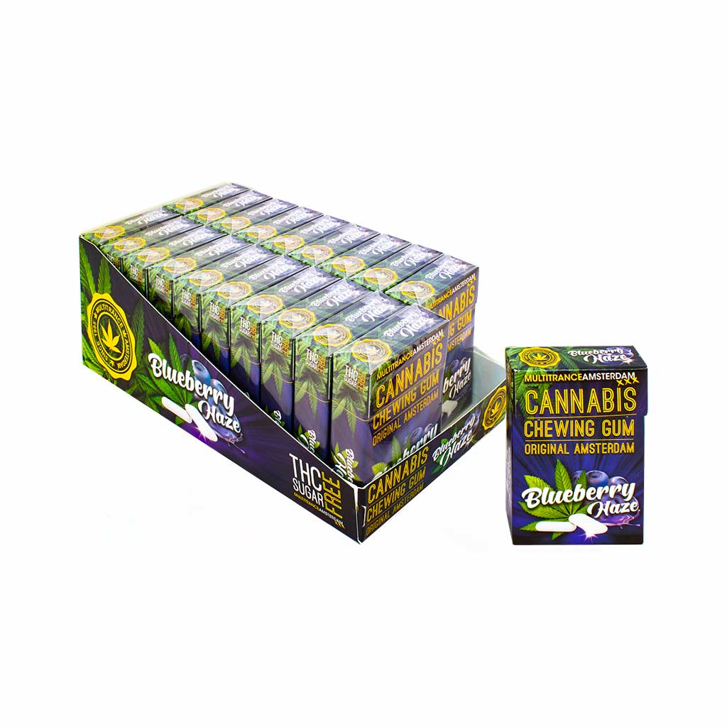 a display carton of MultiTrance refreshing blueberry haze flavoured cannabis chewing gum