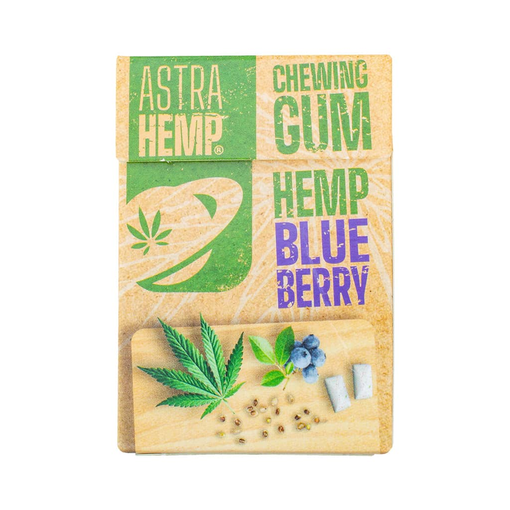 a blister of 17 Multitrance refreshing blueberry flavoured Astrahemp Cannabis chewing gum