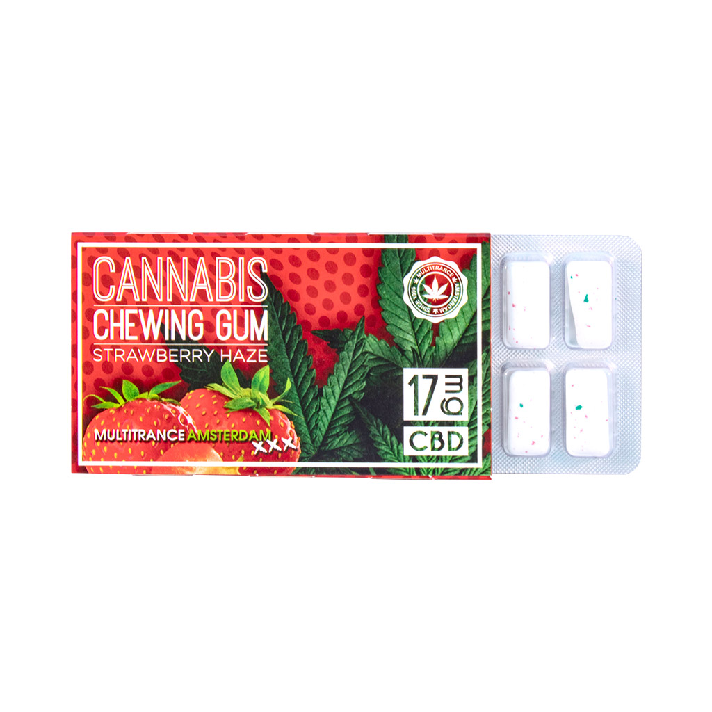Cannabis Strawberry Chewing Gum (17mg CBD)