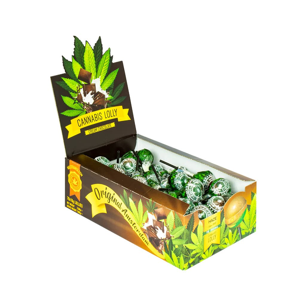 side view of a display carton of Multitrance chocolate cream flavoured cannabis lollies containing 70 lollipops