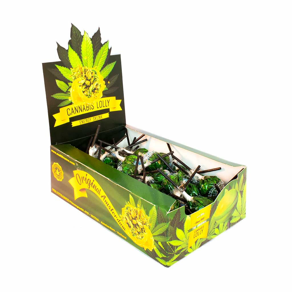 side view of a display carton of MultiTrance energy skunk flavoured cannabis lollies containing 70 lollipops
