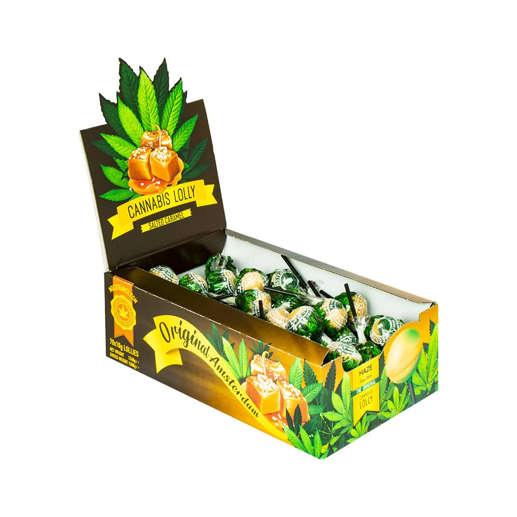 side view of a display carton of Multitrance salted caramel flavoured cannabis lollies containing 70 lollipops