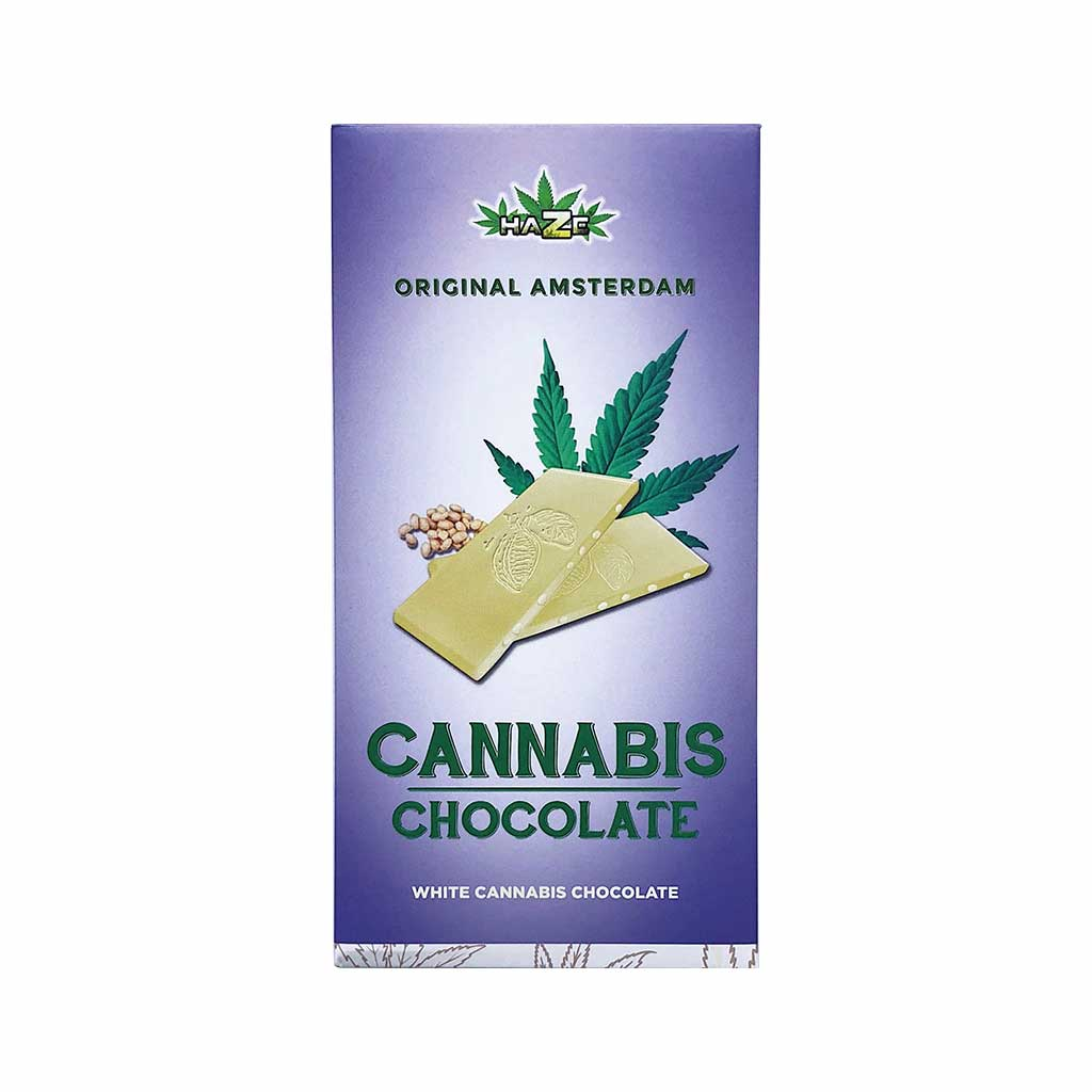 a delicious slab of Multitrance cannabis flavoured white chocolate