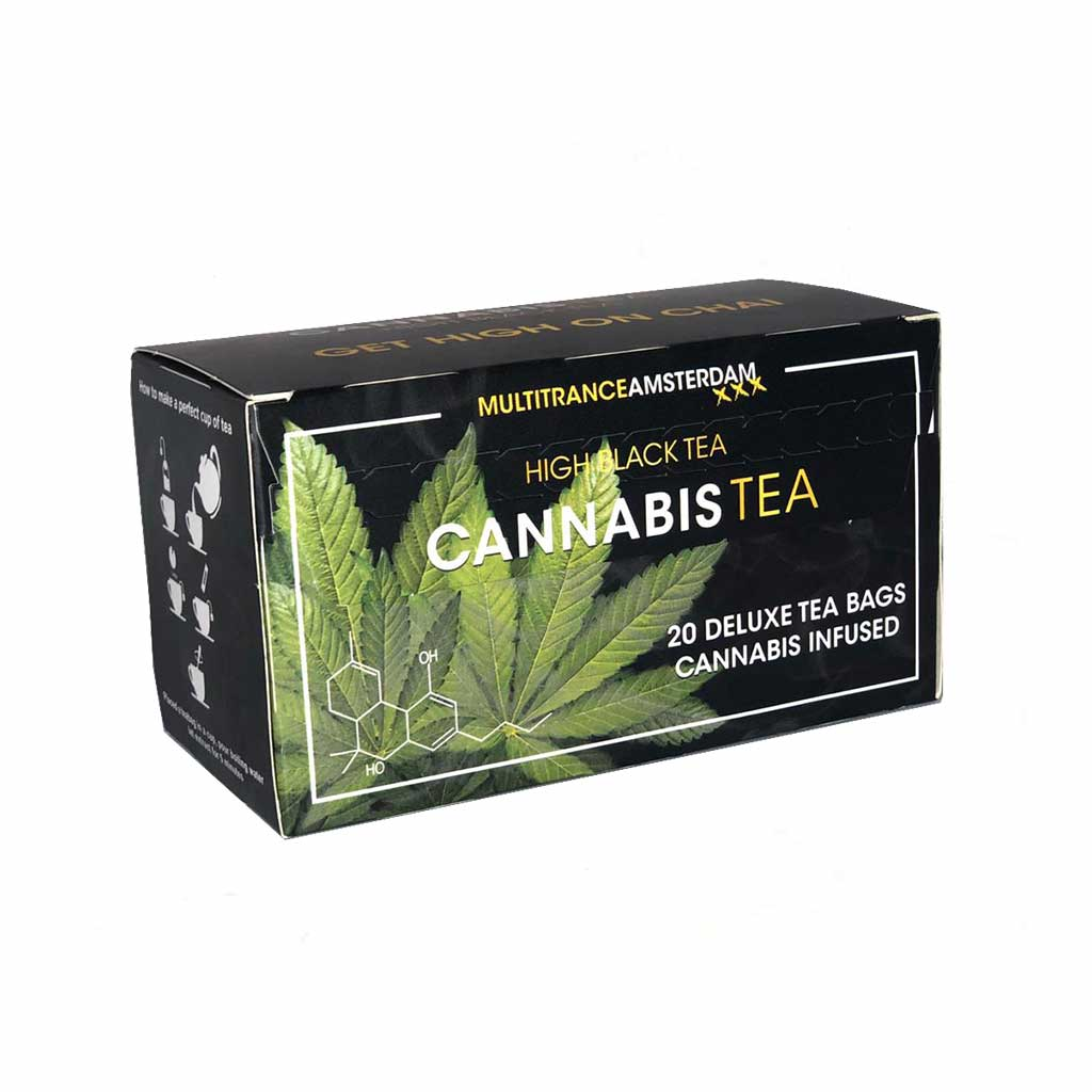 a box of Multitrance cannabis infused black tea containing 20 teabags