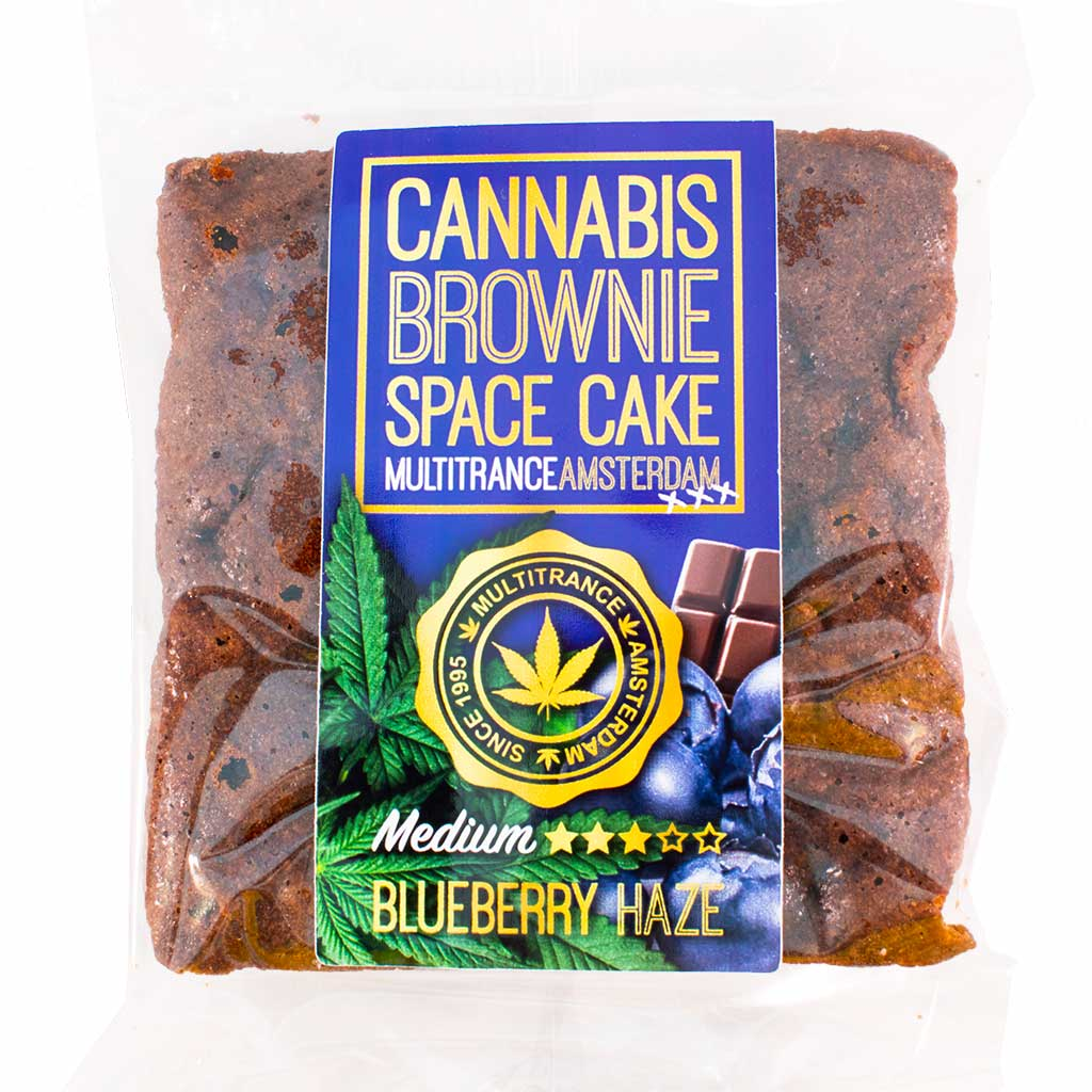 a delicious Multitrance cannabis blueberry brownie infused with medium sativa flavour