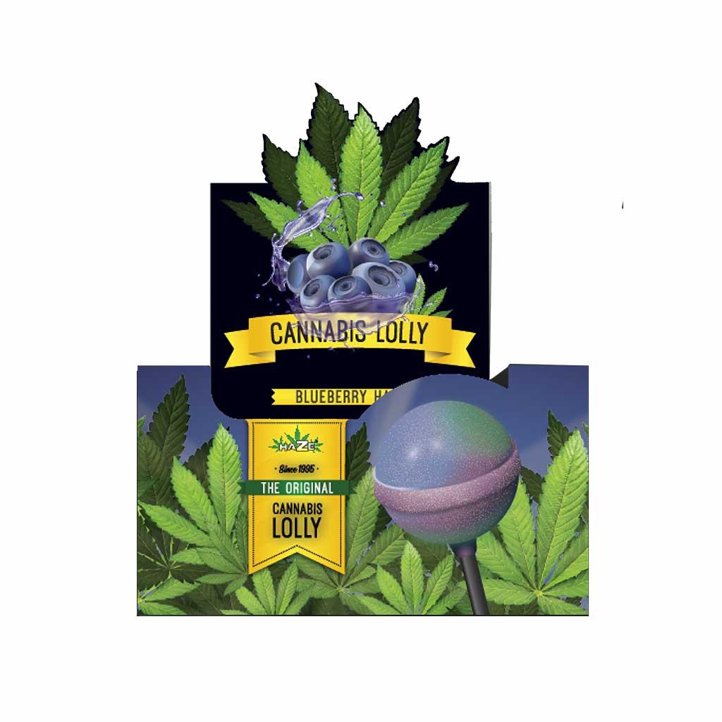 Cannabis Blueberry Haze Lollies – Display Carton (70 Lollies)