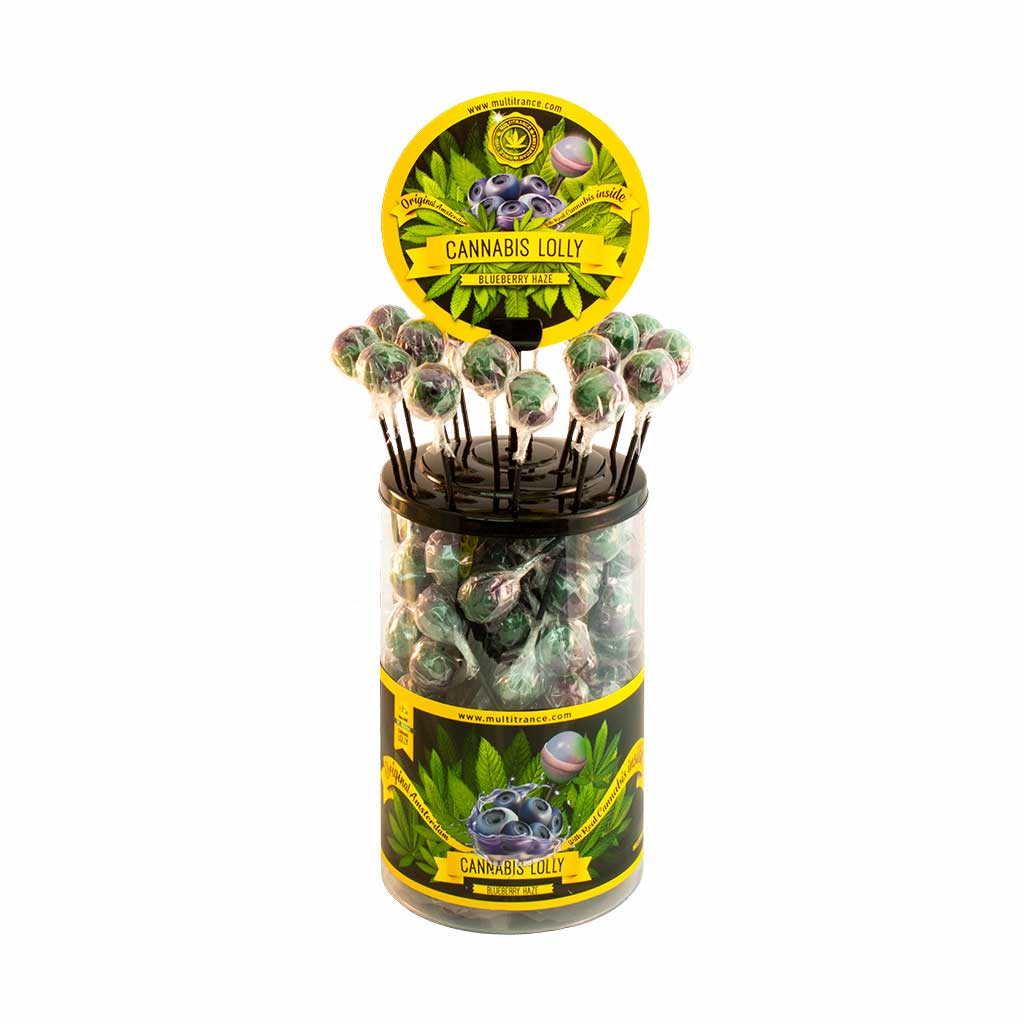 a display container of Multitrance blueberry haze flavoured cannabis lollies containing 100 lollipops