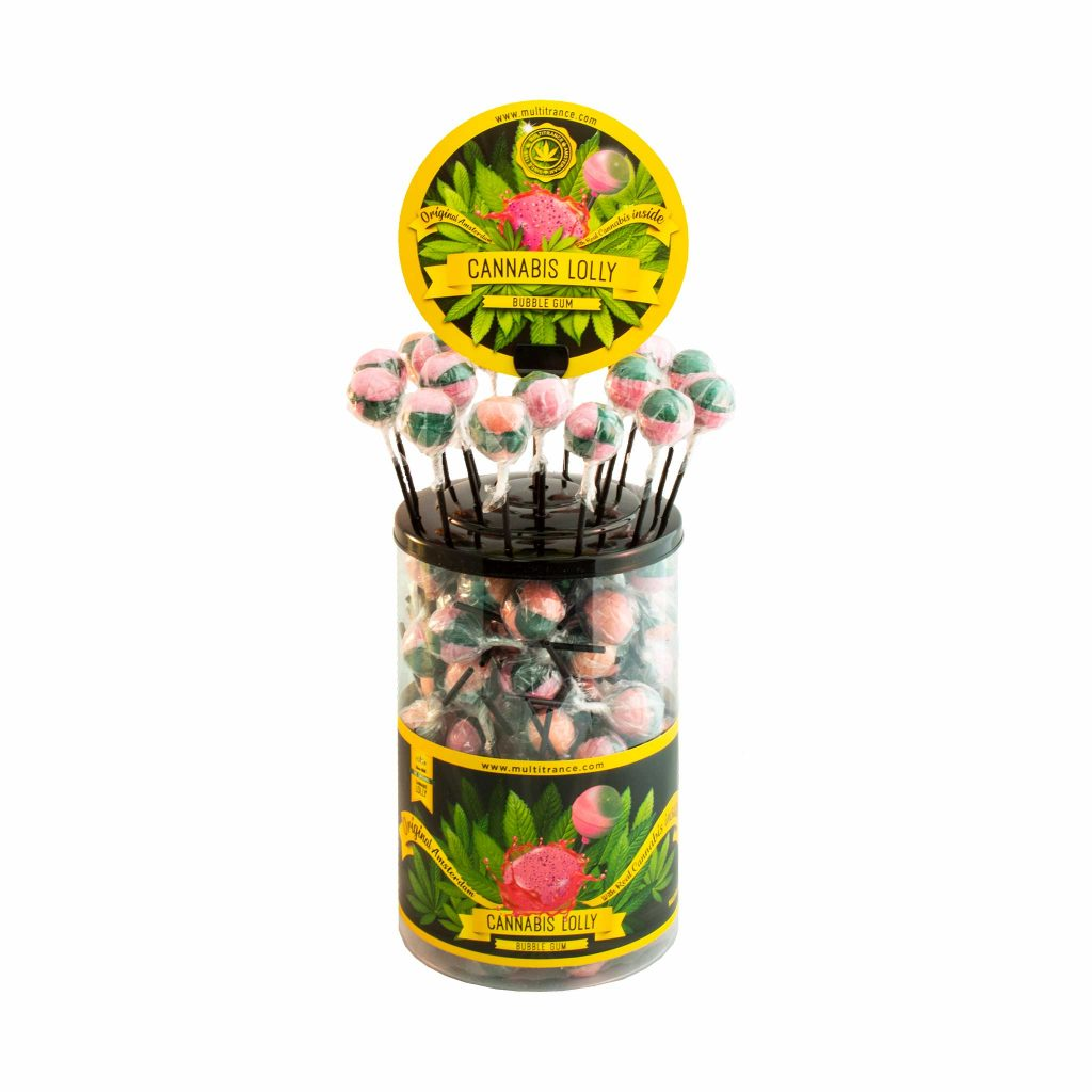 Cannabis Bubble Gum Lollies – Display Container (100 Lollies)