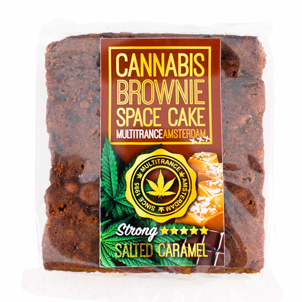 a delicious Multitrance cannabis caramel brownie infused with strong sativa flavour