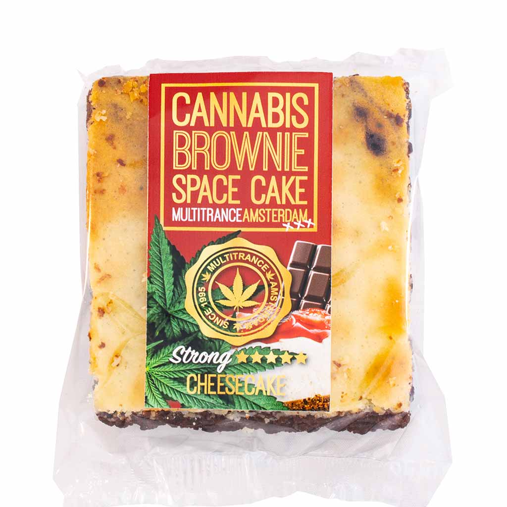 a delicious Multitrance cannabis cheesecake brownie infused with strong sativa flavour