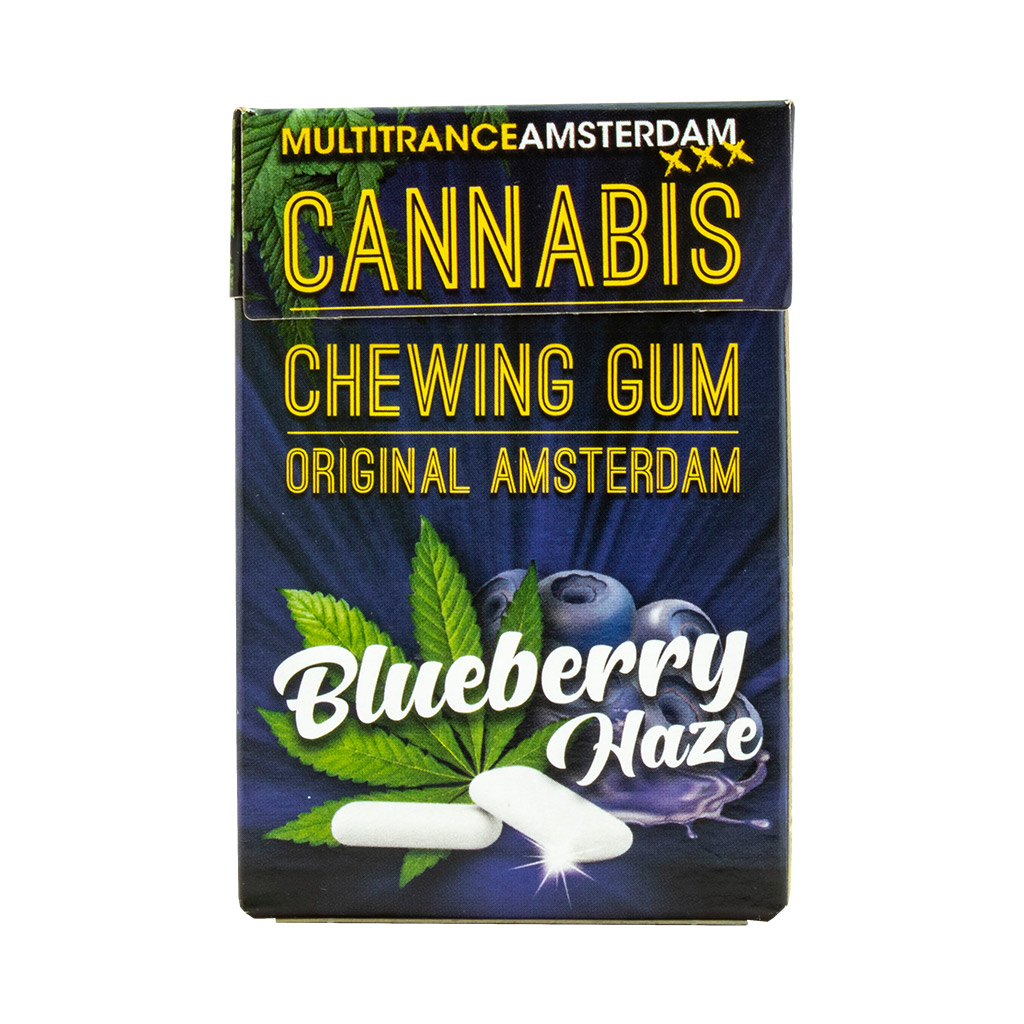 a blister of 17 Multitrance refreshing blueberry haze flavoured cannabis chewing gum
