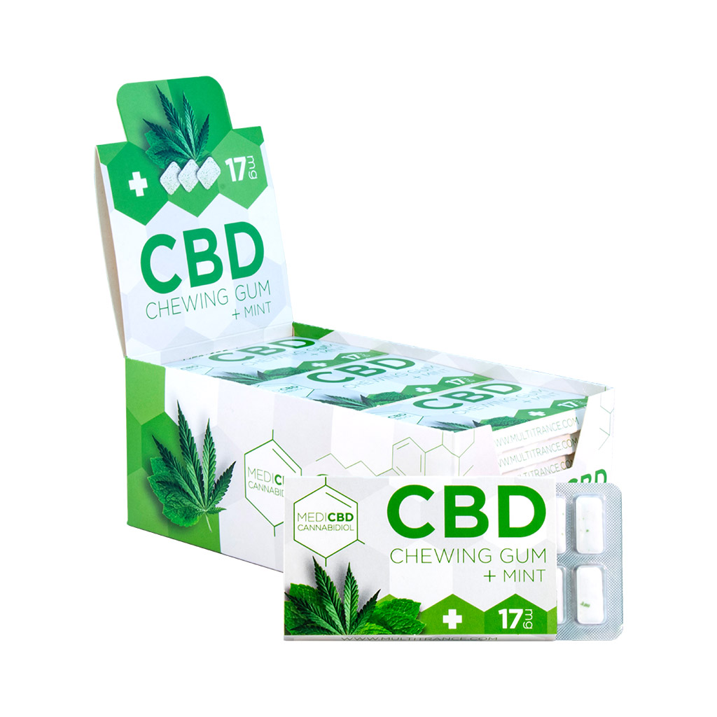 a display carton of Multitrance MediCBD refreshing mint flavoured CBD chewing gum