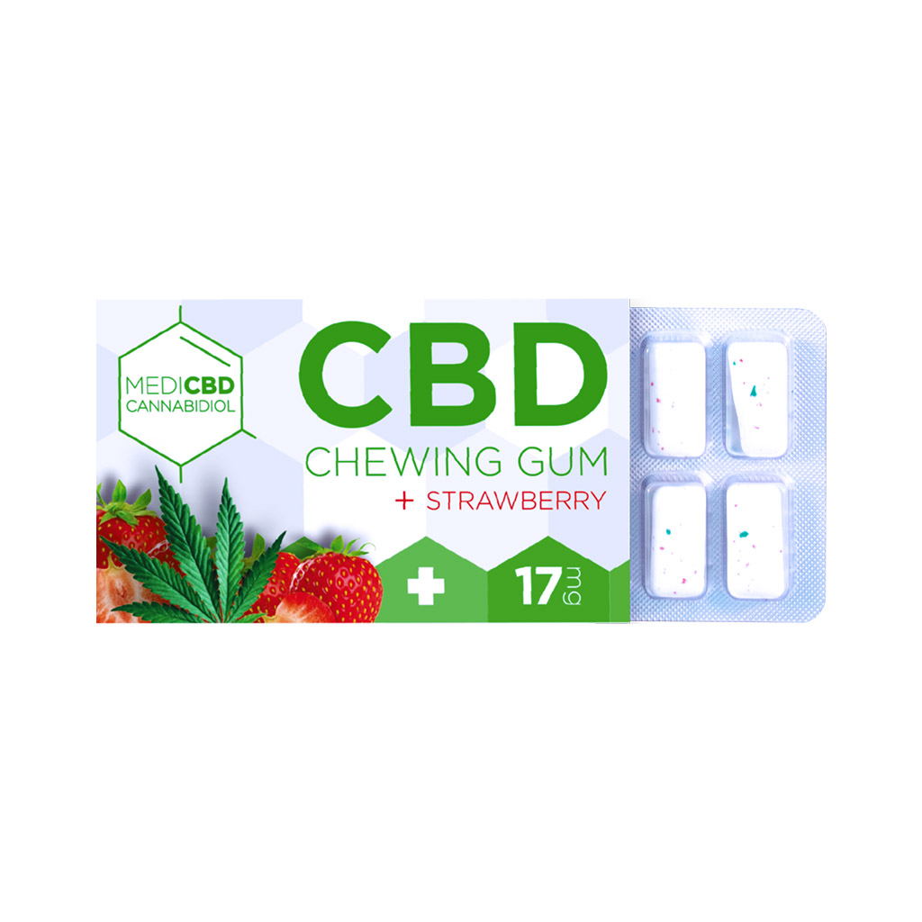 a blister of 12 Multitrance MediCBD refreshing strawberry flavoured CBD chewing gum