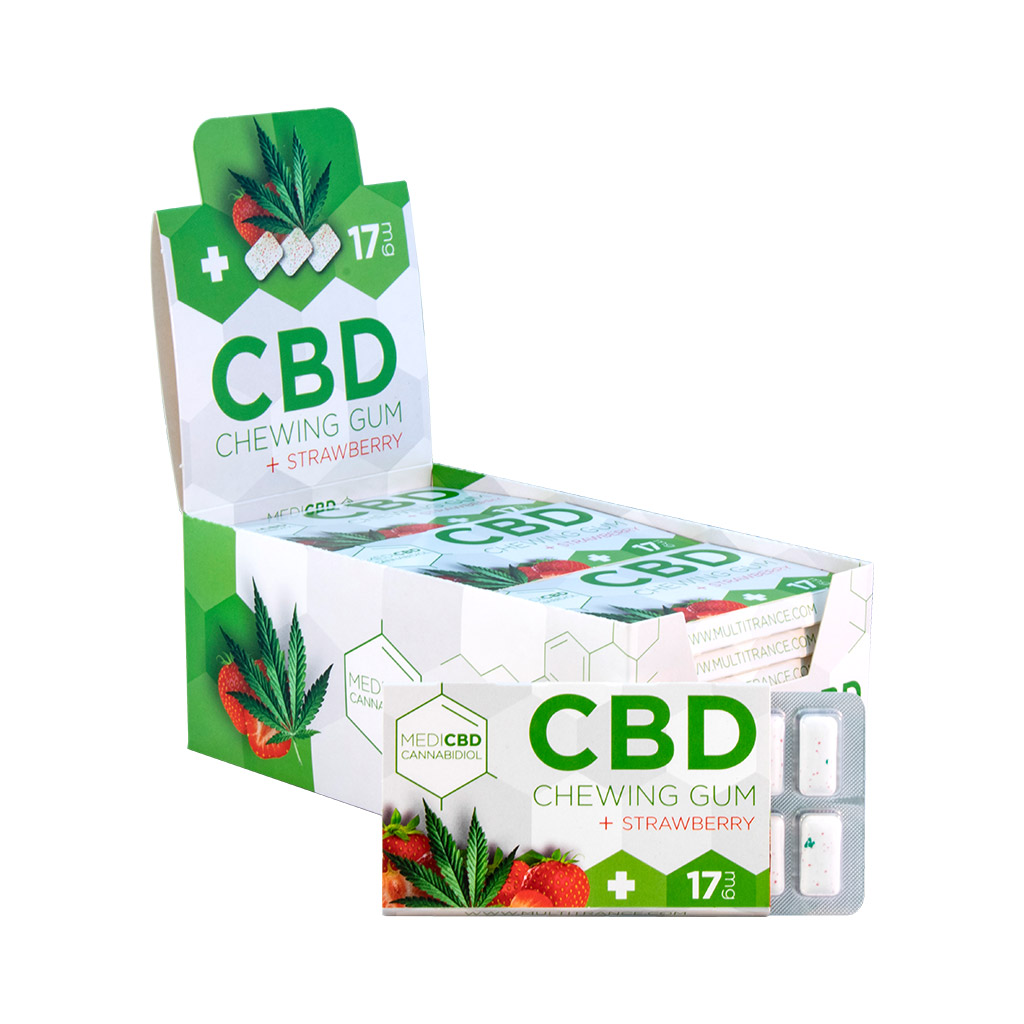 a display carton of Multitrance MediCBD refreshing strawberry flavoured CBD chewing gum