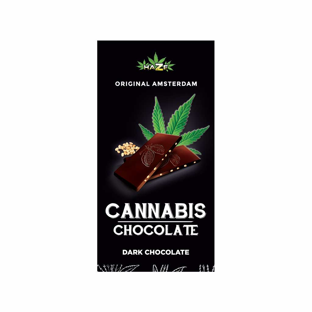 a delicious slab of Multitrance cannabis flavoured dark chocolate