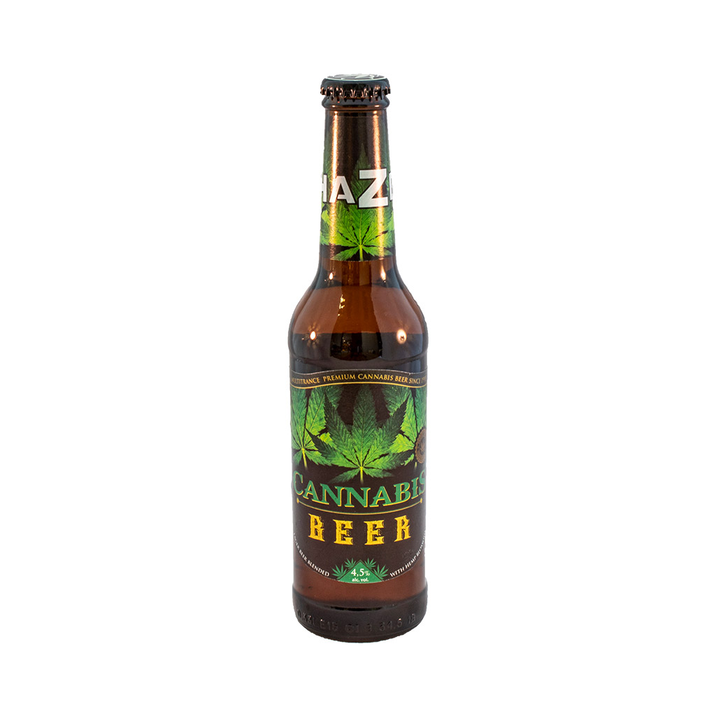 award-winning 330ml bottle of Multitrance green leaf cannabis flavoured beer blended with hemp blossoms