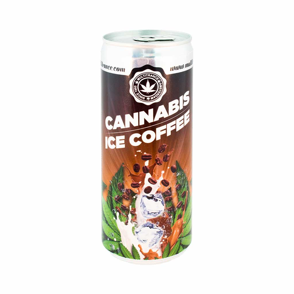 a 250ml can of MultiTrance cannabis flavoured ice coffee