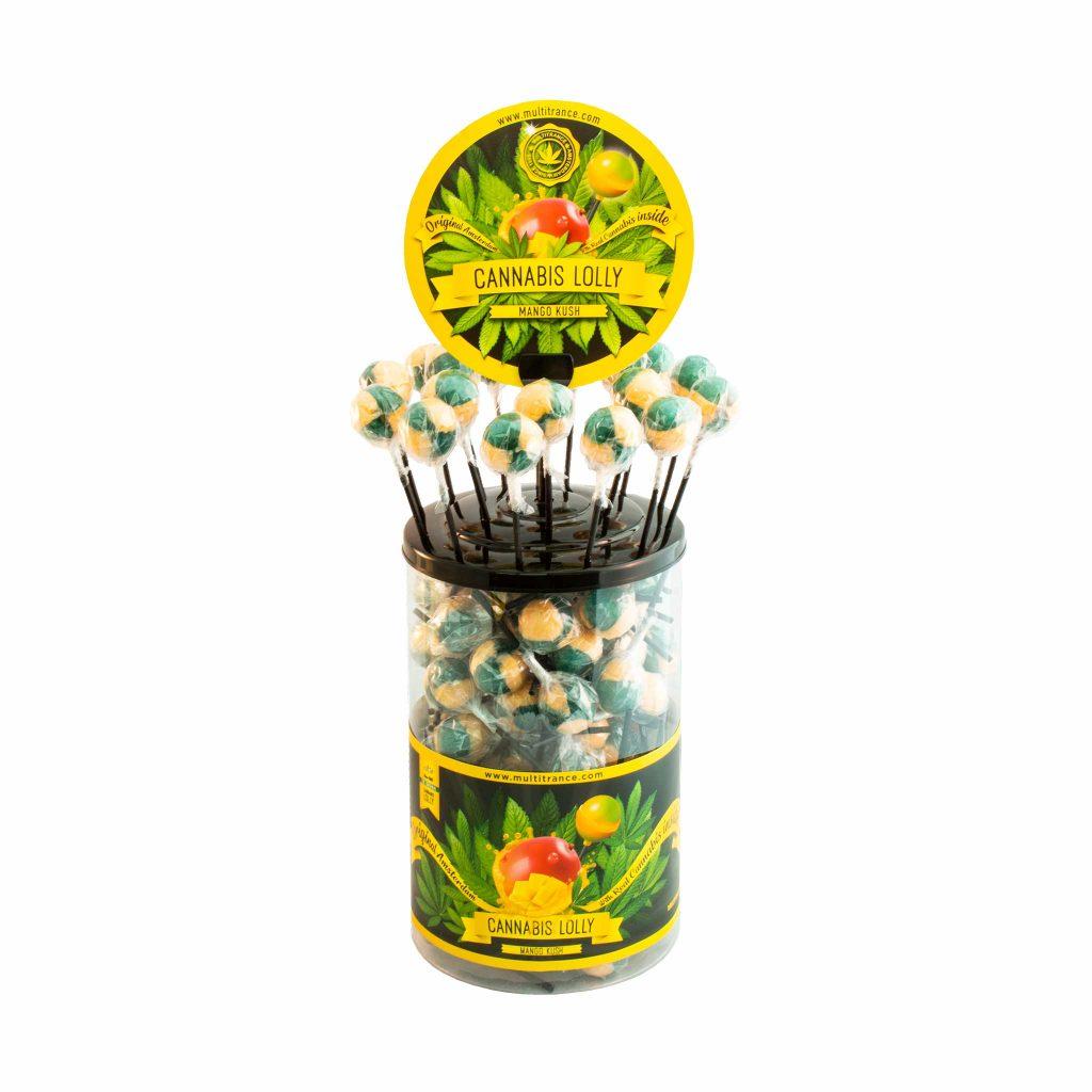 Cannabis Mango Kush Lollies – Display Container (100 Lollies)