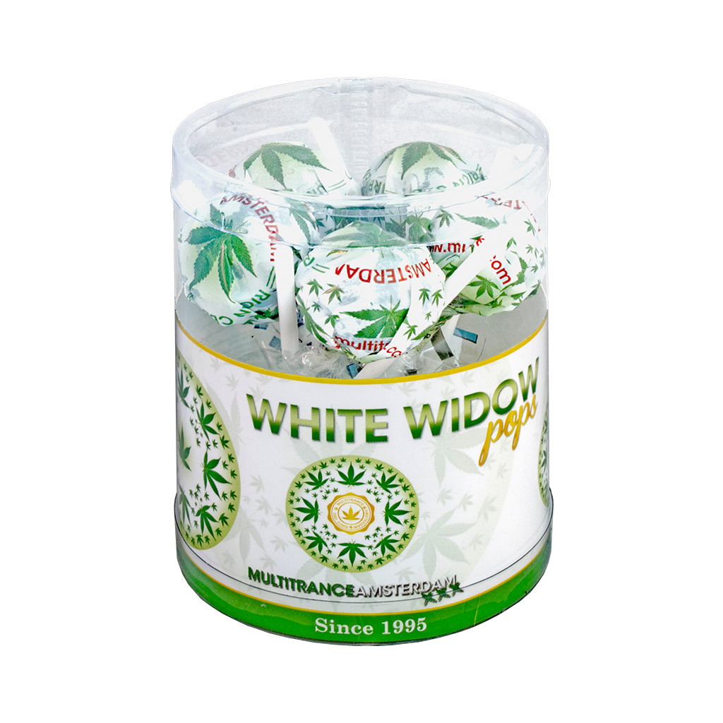 a gift box of Multitrance cannabis flavoured white widow pops lollies containing 10 lollipops