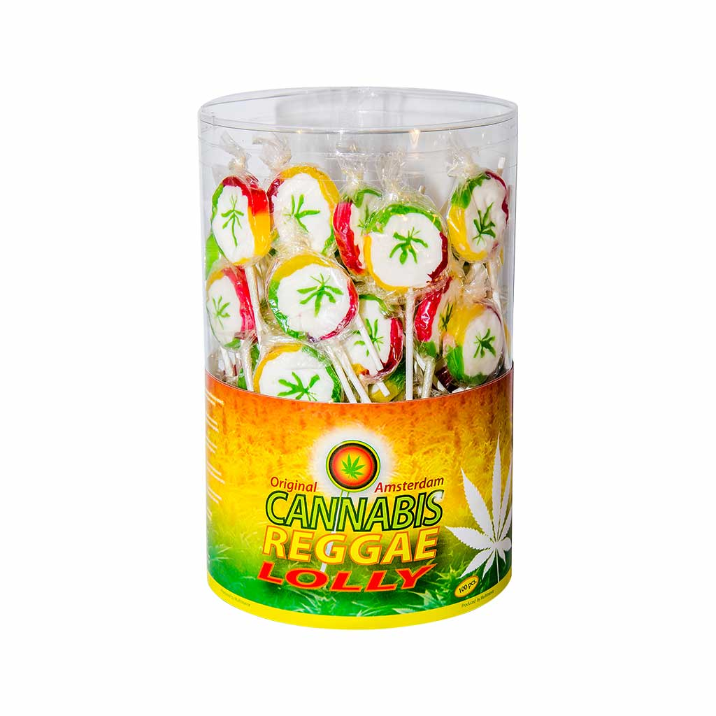 a display container of Multitrance reggae cannabis lollies containing 100 lollipops
