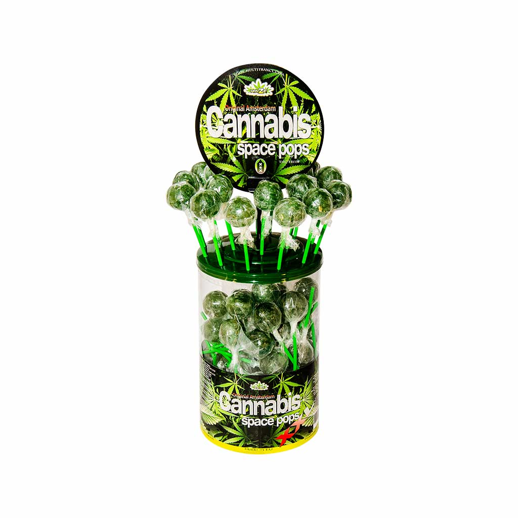 a display container of Multitrance cannabis flavoured XXL space pops lollies