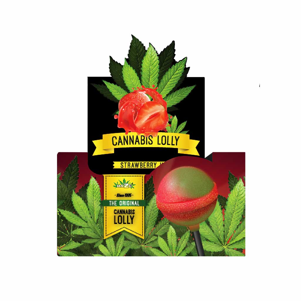 Cannabis Strawberry Haze Lollies – Display Carton (70 Lollies)