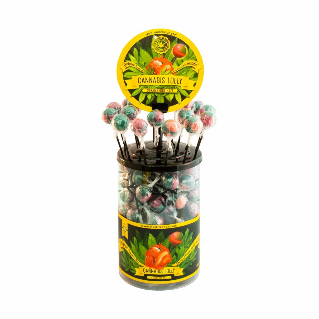 Cannabis Strawberry Haze Lollies – Display Container (100 Lollies)