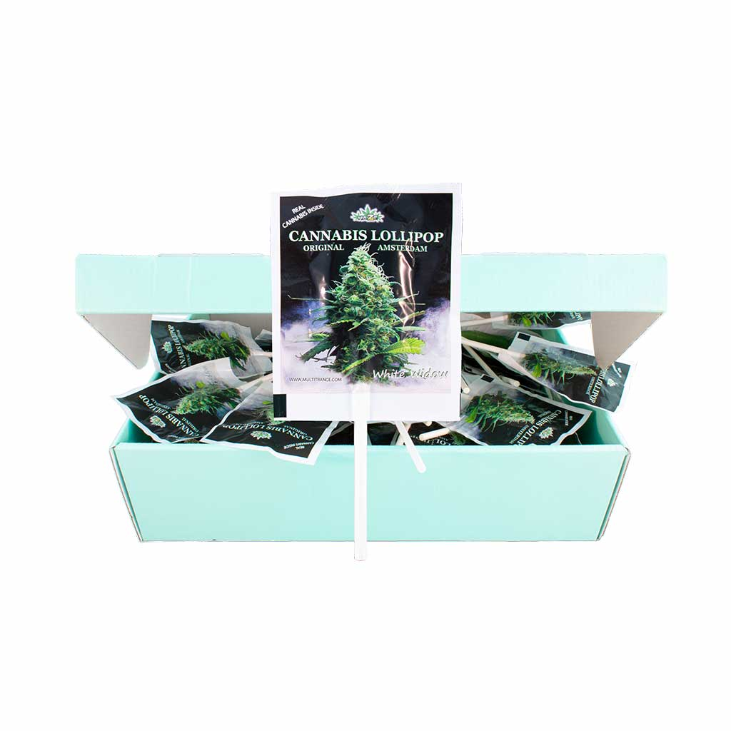 a display box of MultiTrance cannabis flavoured white widow lollies