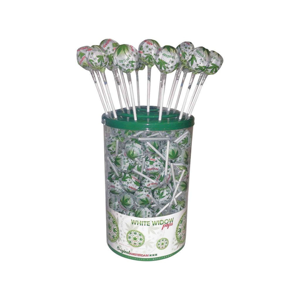 Cannabis White Widow Pops – Display Container (100 Lollies)