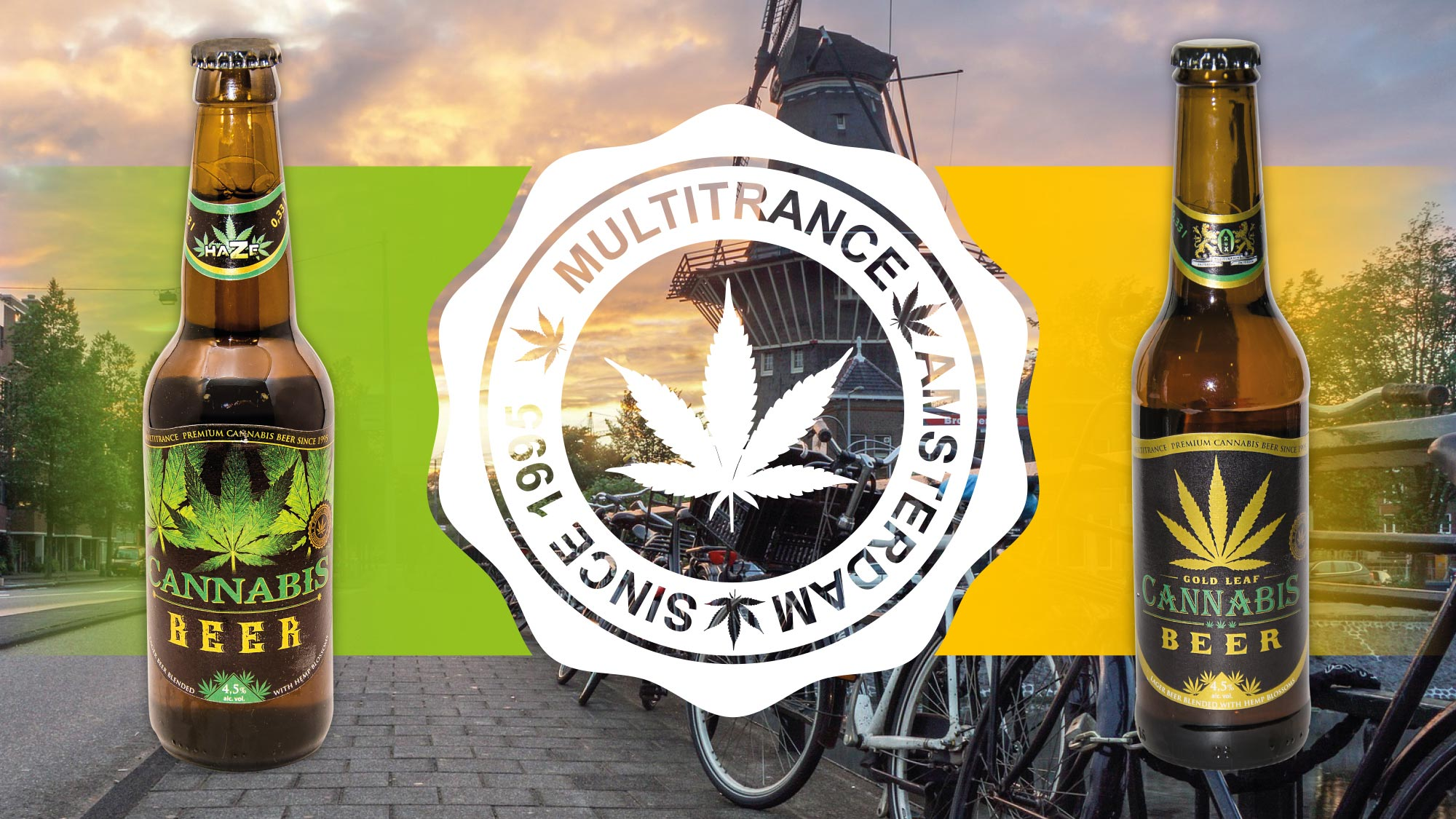 MultiTrance logo displayed in between cannabis infused beers with an image of Amsterdam in the background