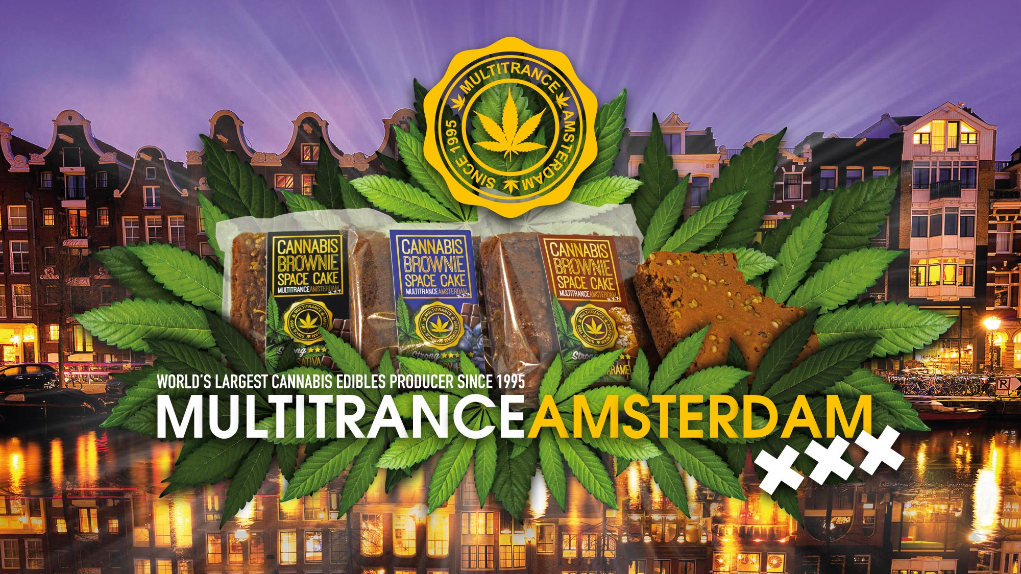 Multitrance logo displayed above cannabis brownies with an image of iconic Amsterdam city buildings in the background