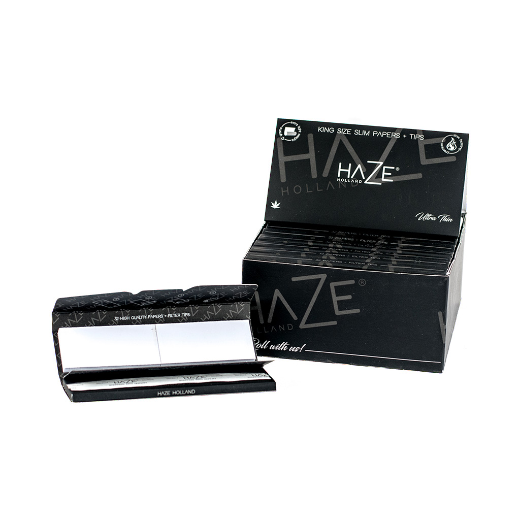 a box of Haze Holland premium king size, ultra thin rolling paper with tips